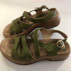 Dansko Green Strappy Leather Sandals